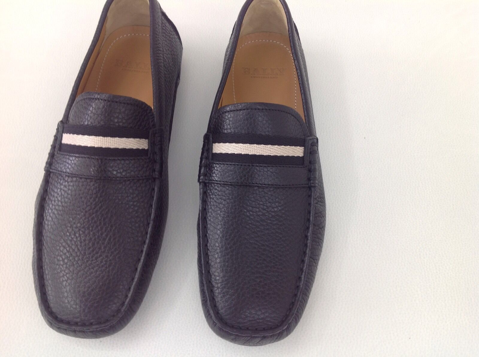 NEW IN ORIGINAL BOX BOX BOX BALLY SWITZERLAND DRIVERS GRAINED BROWN  SHOES SIZE US 8. 628ea7