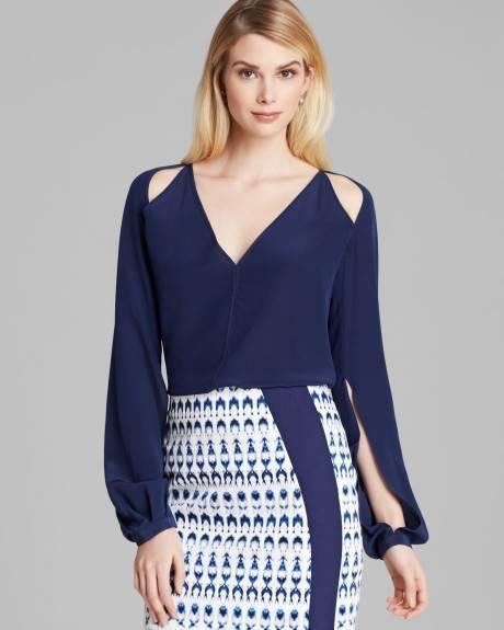 Rachel Roy Navy Blau Split Sleeve Cut Out Silk L S Blouse Top  NWT S