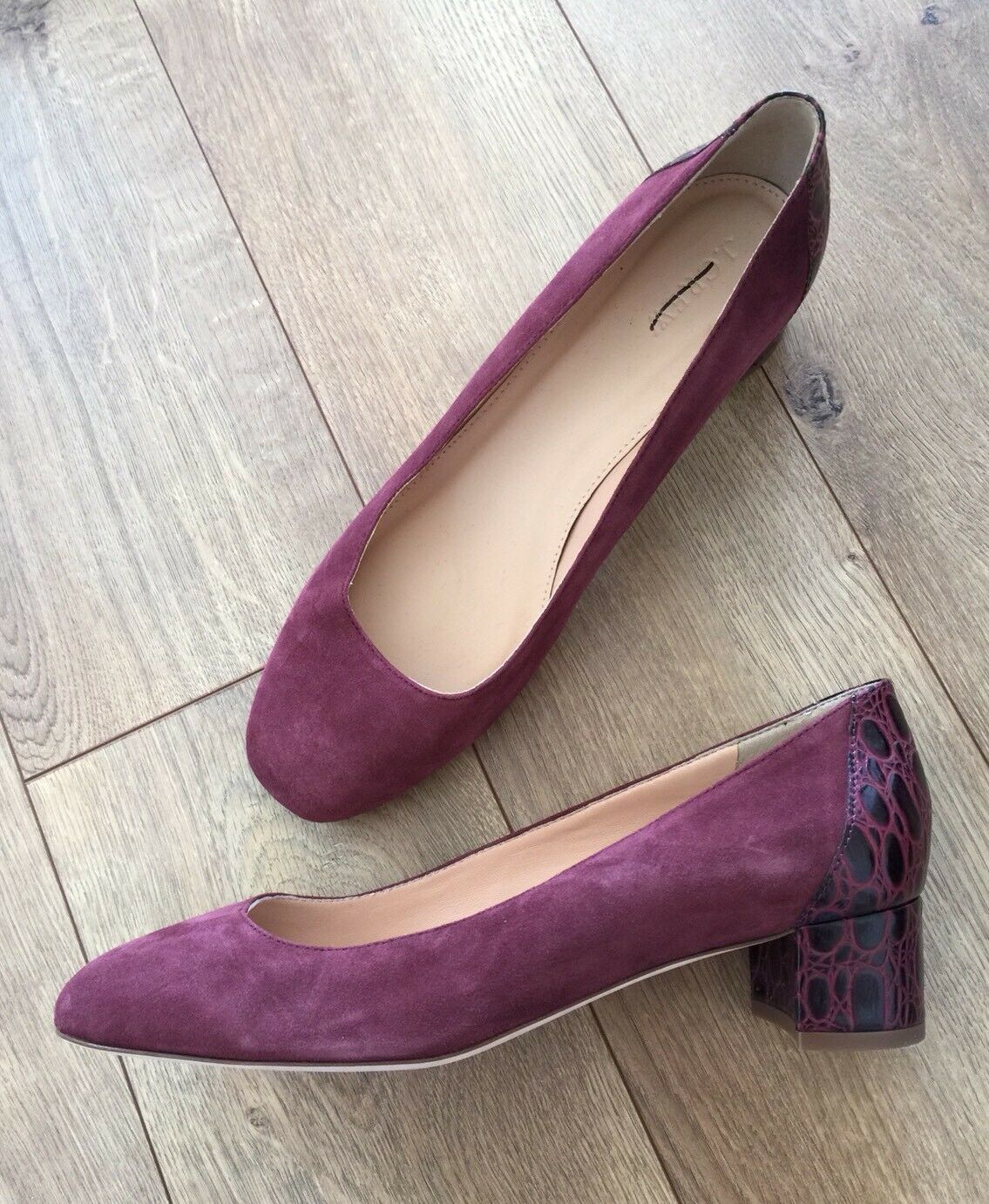 JCrew  198 Suede Pumps with Stamped Croc Heel 10 Vintage Cabernet Rosso Shoe G8170