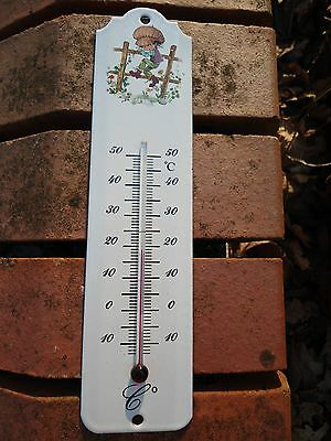EN FRANCE THERMOMETRE EMAILLE 25 cm Frise Verte EMAIL VERITABLE 800°C NEUF FAB