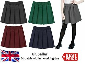Girls-school-kid-School-Uniform-Box-Pleated-Elasticated-waist-Skirt-Age-2-18yrs