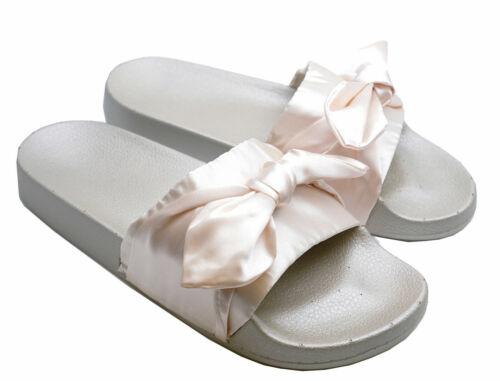 WOMENS SLIP-ON CHAMPAGNE SATIN BOW FLIP-FLOPS MULES SLIDERS BEACH SANDALS 3-8