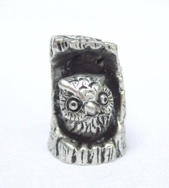 Vintage Pewter Owl in Tree Hole Figurine Cute Animal Miniature Bird Handmade