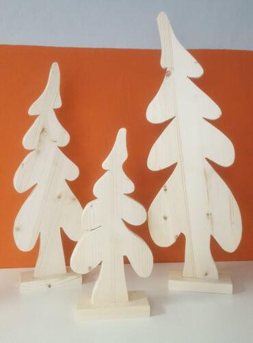 Baumset-best-aus-3-Baeume-gefertigt-aus-Fichte-natur-mit-Standfuss-Tannebaum