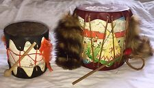 Vintage 2 Indian Drums Toy Canada Waterville, PA Souvenir With Raccoon Tails
