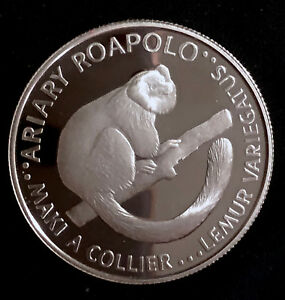 1988 Malagasy Republic 20 Ariary - Variegated Lemur - Silver Proof