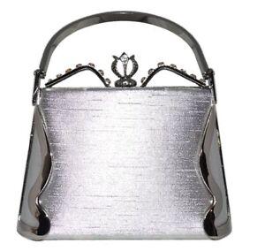 Prom-Wedding-Formal-Silver-Satin-Rhinestone-Metal-Frame-Box-Handbag-Purse-NWT