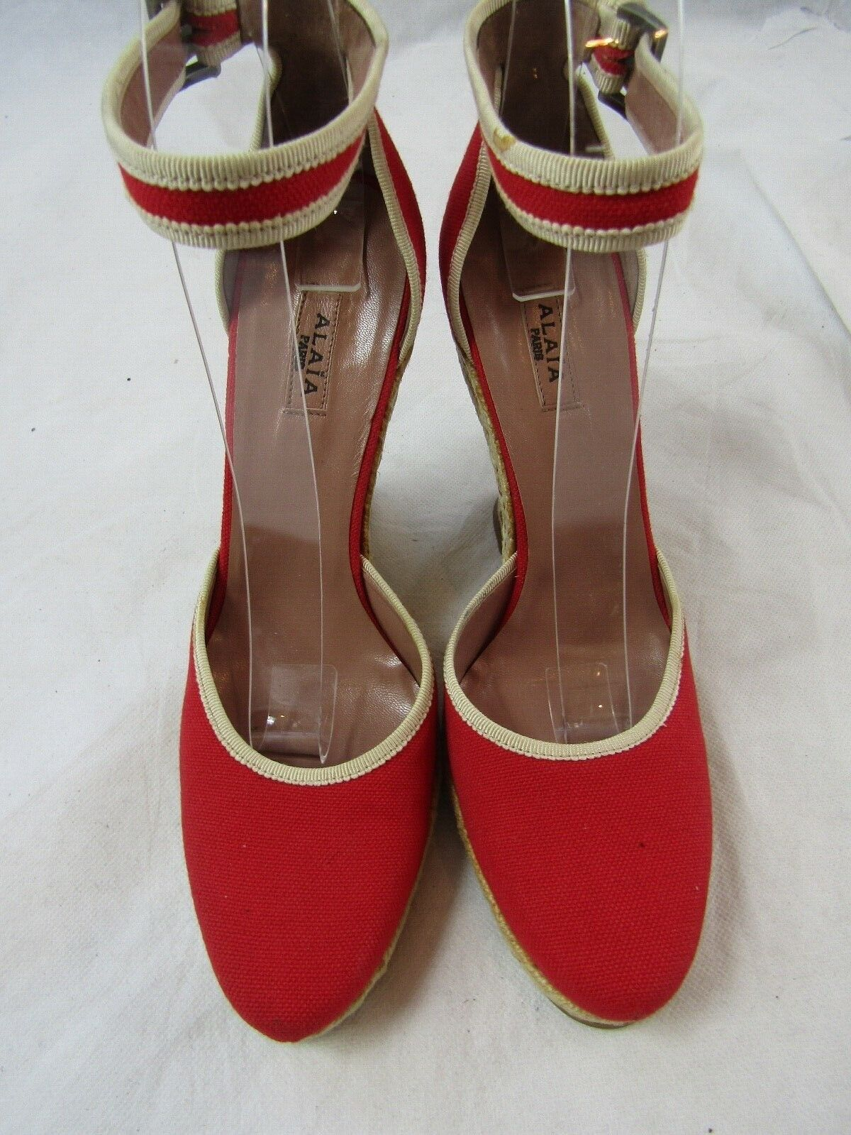 Azzedine Alaia Red Espadrille Wedge Size 37.5 Ret… - image 1