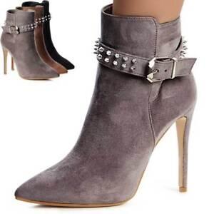 Damen-Spitze-Stiefeletten-Pumps-Stiefel-Ankle-Boots-Booties
