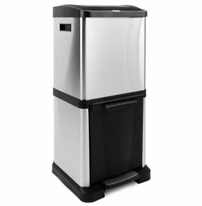 Double Kitchen Bin Recycle Vertical Duo Compartment Waste Bins ...
