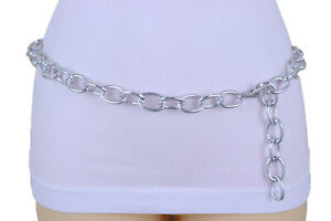 Women-Jumper-Fashion-Style-Urban-Belt-Silver-Color-Metal-Chain-Oval-Links-XS-S-M