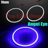 2x Angel Eyes Cob Halo Ring Blue 70mm Led Light Headlight Fog Housing