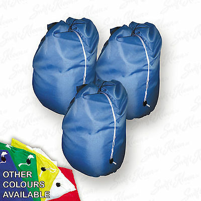 3 Large Heavy Duty Laundry Bag Sack with Drawstring Commercial Style random col
