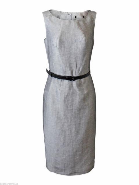 M&S Autograph Grey Linen Rich Shift Dress Silver Belt Office Evening Work Wear
