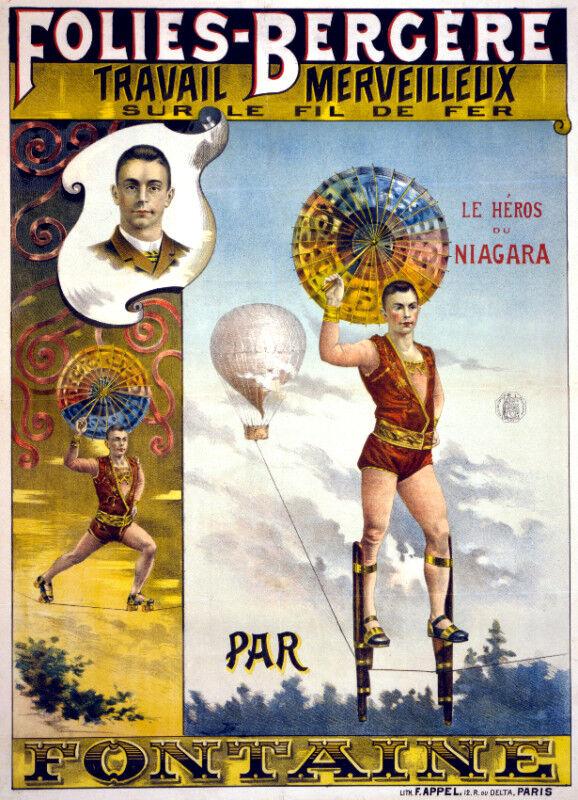 Vintage Circus POSTER.Stylish Graphics.Niagara Falls Act.Wall Decor1090