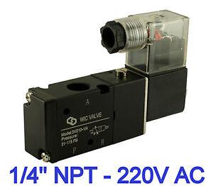 Dettagli Su 1 4 Pollici 3 Posizioni 2 Direzionale Controllo Elettrico Elettrovalvola 220v