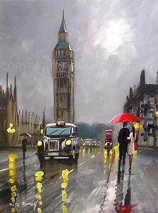 PETE-RUMNEY-FINE-ART-BUY-ORIGINAL-PAINTING-CANVAS-WALL-PICTURE-LONDON-BIG-BEN