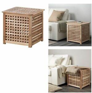 Ikea Rangement Hol Acacia En Bois Storagebox Panier A Linge Side Table Table De Cafe Ebay