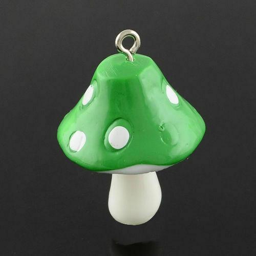 10pcs Mixte Couleur Résine Champignon Pendentifs À faire soi-même Jewelry Making Charms 34x22x22mm