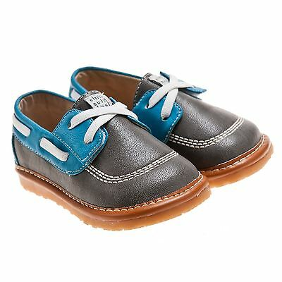 Boys Toddler Kids Childrens Leather Squeaky Shoes - Grey, Blue & Tan - Wide Fit