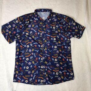 San Diego Padres BDA Mens Button Front Shirt Blue Short Sleeve Point Collar XL