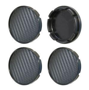 4pcs-Black-55-52mm-Wheel-Centre-Caps-CARBON-effect-Logo-Rim-Hub-Caps-Covers