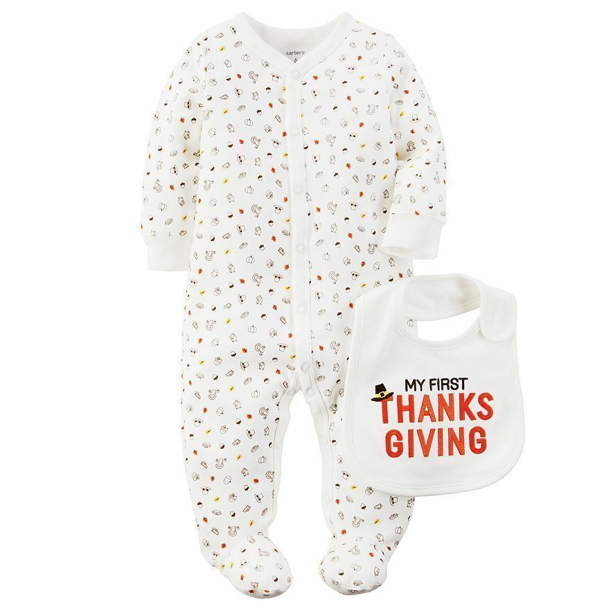1e435cf5d Boys Girls 3 Month My First Thanksgiving 2pc Set Carter's Bib 1st ...
