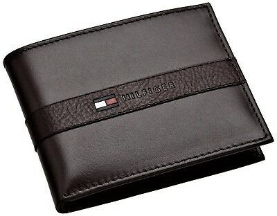MENS TOMMY HILFIGER GENUINE LEATHER BILLFOLD WALLET BLACK Coin Compartment