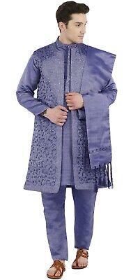 SKAVIJ Mens Tunic Indian Silk Blend Kurta Pajama and Jacket Set Waistcoat