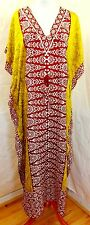 JESSICA TAYLOR WOMEN ONE FREE SIZE TUNIC KAFTAN FLORAL RED YELLOW WHITE DRESS