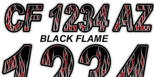 Black Flame Boat Registration Numbers or PWC Decals Graphics Stickers