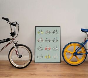 """Old School BMX bike collection poster – A2  / 18"""" x 24"""" – Retro gift"""