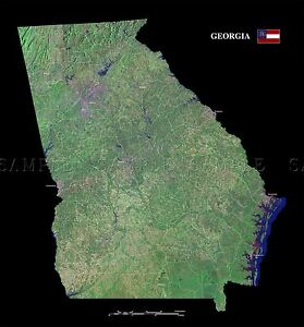 Satellite Map Of Georgia Usa.Map County Satellite Usa State Flag Georgia Large Replica Poster
