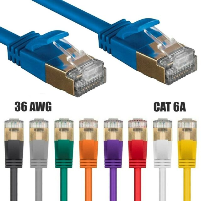 14FT CAT6A Ethernet LAN Network Patch Cable RJ45 S//STP 10Gbps Slim 36AWG GRAY