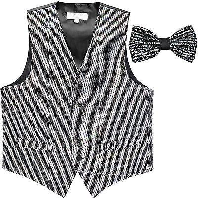 New Vesuvio Napoli Men/'s sequins formal tuxedo vest waistcoat/_bowtie black