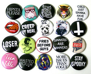 Mixed-On-Trend-Youth-Fashion-BADGES-Buttons-Pins-x-20-Creep-it-Real-25mm-1-034