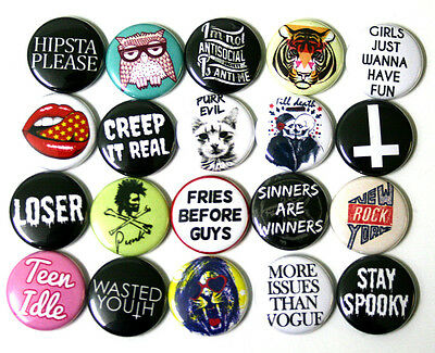 Mixed YOUTH FASHION BADGES Buttons Pins Set Pack Lot x 20 Creep it Real 25mm