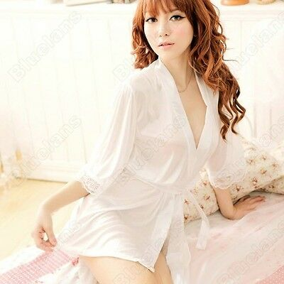 New Womens Sexy Lace Sheer Lingerie Sleepwear Robes Nightgown Pajamas With Belt