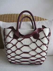 obag mini o bag tasche in creme bordeaux neu ebay. Black Bedroom Furniture Sets. Home Design Ideas