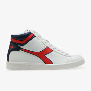 Scarpe-da-uomo-Diadora-Game-P-High-C2107-bianco-rosso-blu-sneakers-sportiva-alta