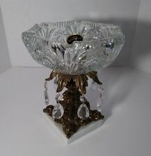 Vintage ART DECO Monarch Crystal Glass Brass Stand Ashtray Marble Base Italy