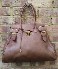 New ANNIE'S EYE Bronze Brown Genuine Leather Large Satchel Tote Handbag Unused