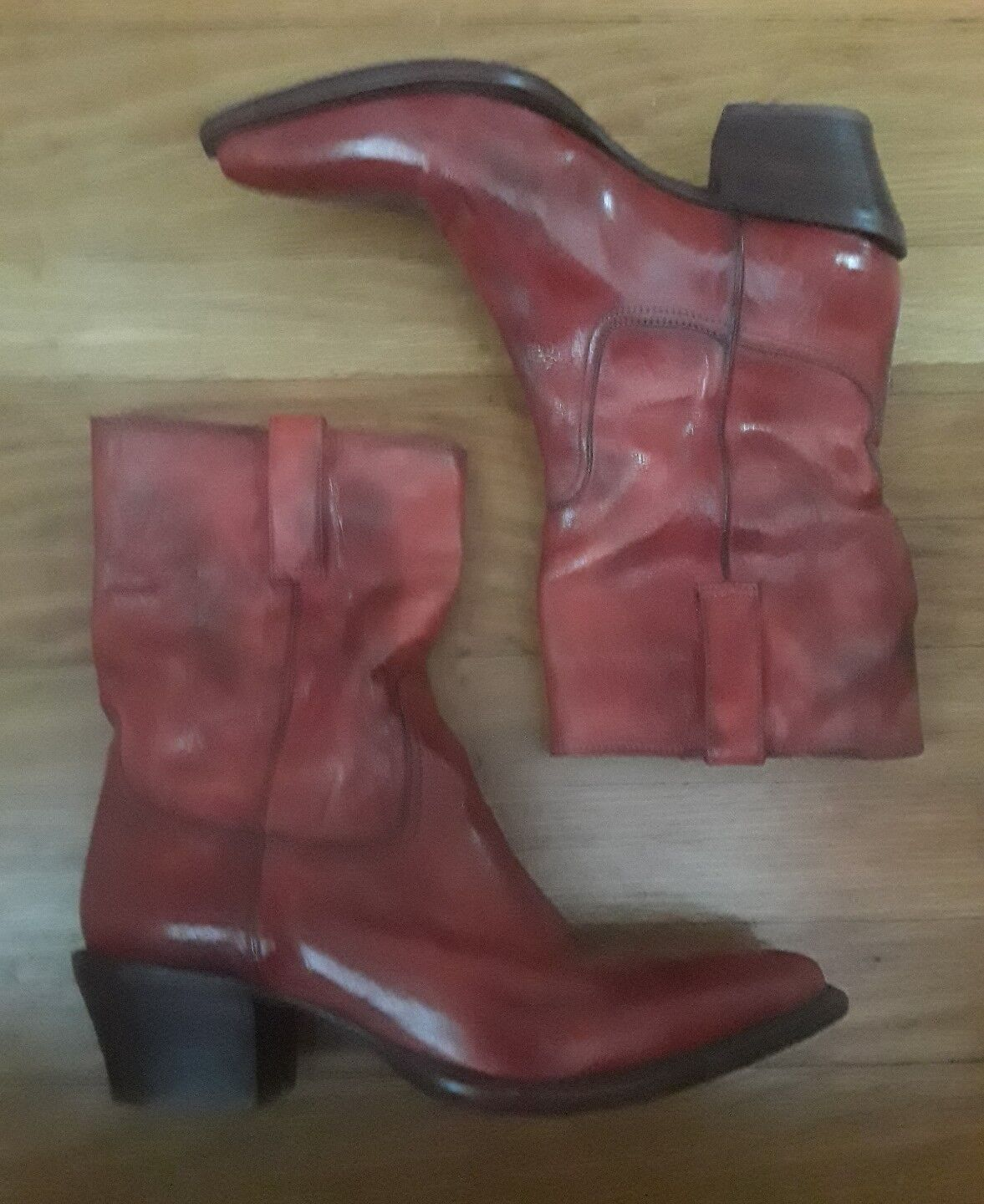 COLE HAAN COWGIRL POINTY TOE COWBOY WESTERN ReD LeatheR BOOTS 7B Made in ITALY!