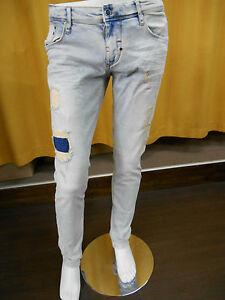 Men-039-s-Jeans-Fredo-Skinny-Antony-Morato-MMDT00124-W00622-Patches-Bottom-Leg-Tight