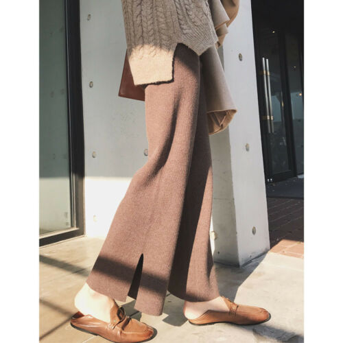 Womens Long Loose Casual Knitted Pants Wide Leg Trouser Comfy Winter Warm New