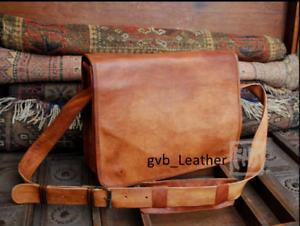 Genuine-Vintage-shoulder-messenger-Briefcase-Travel-Case-Laptop-Mens-Leather-Bag