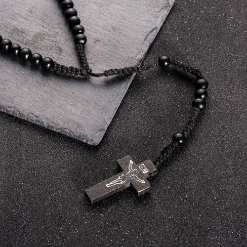 Mens Womens Black Brown Wood Rosary Bead Beads Necklace Cross High Quality UK