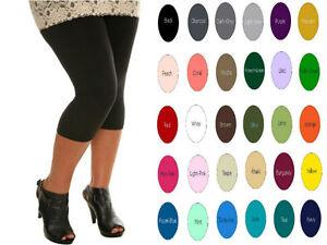 1d549efcdf3c8 Cotton Spandex Women Plus Yoga Capri leggings Crop Pants 1X-5X 32 ...