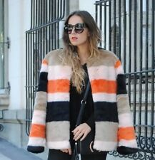 ZARA Orange Black Stripe Faux Fur Coat Size Large L Colourful Jacket Stripped