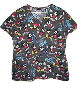 Disney Mickey Mouse Saxaphone Banjo Gray Cotton Scrub Top Womens XL Shirt